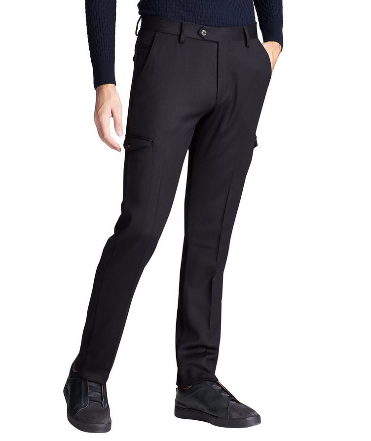 Slim Fit Wool Cargo Dress Pants image 0