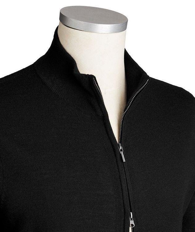 Zip-Up Extra-Fine Merino Wool Cardigan picture 2