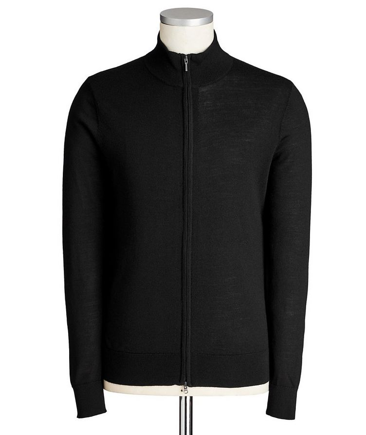Zip-Up Extra-Fine Merino Wool Cardigan image 0