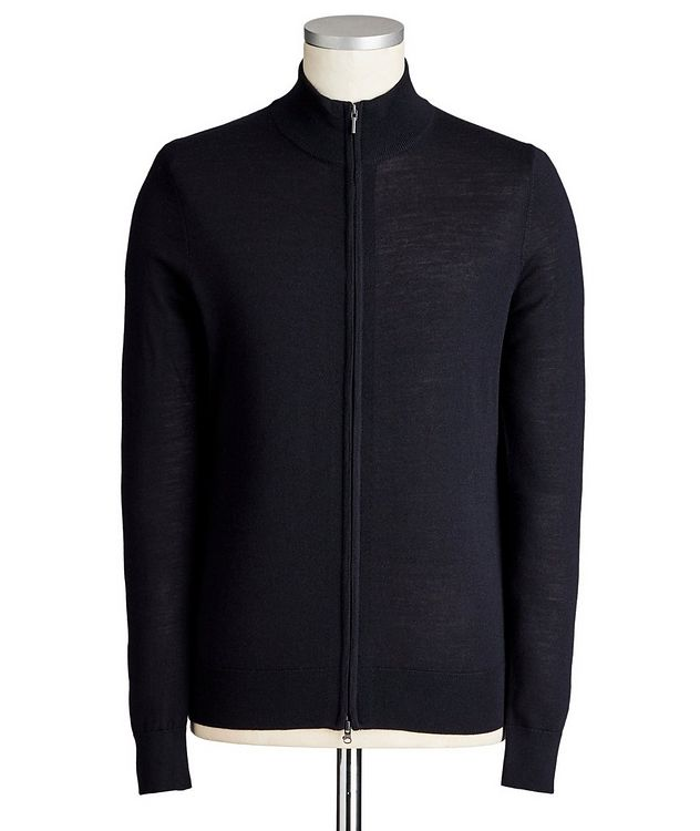 Zip-Up Extra-Fine Merino Wool Cardigan picture 1