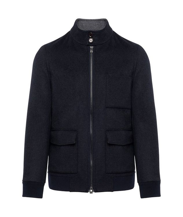 Zip-Up Wool-Cashmere Bomber Jacket picture 1