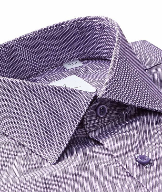 Bird's Eye-Printed Cotton Dress Shirt picture 2