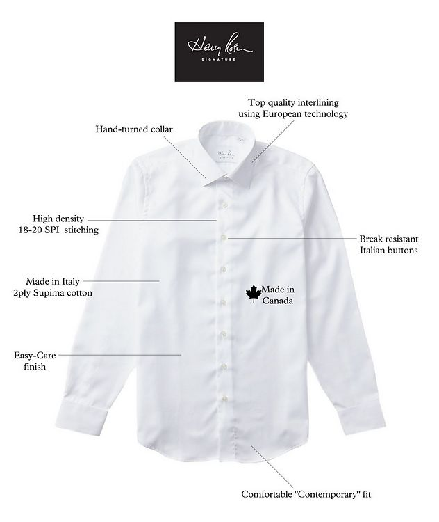 Bird's Eye-Printed Cotton Dress Shirt picture 3
