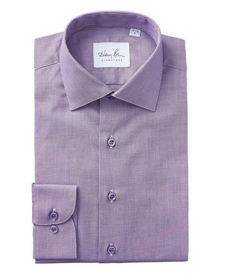 Bird's Eye-Printed Cotton Dress Shirt image 0