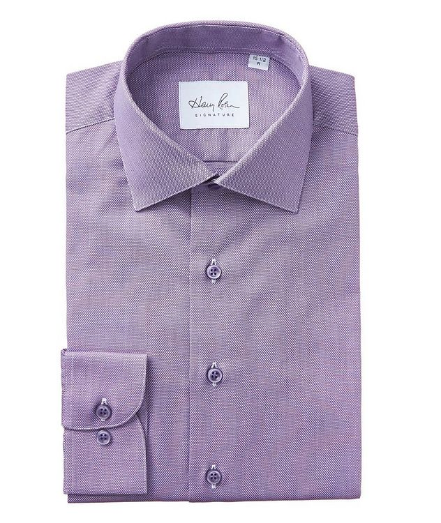 Bird's Eye-Printed Cotton Dress Shirt picture 1