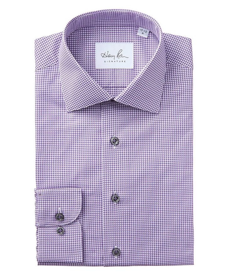 Grid-Checked Cotton Dress Shirt image 0