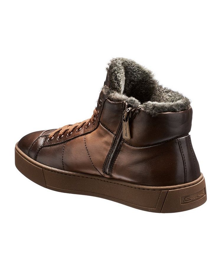 Burnished Fur-Lined Soft Sneakers image 1