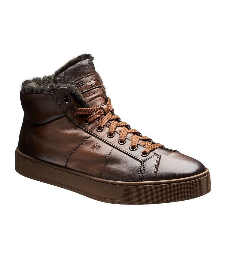 Burnished Fur-Lined Soft Sneakers image 0