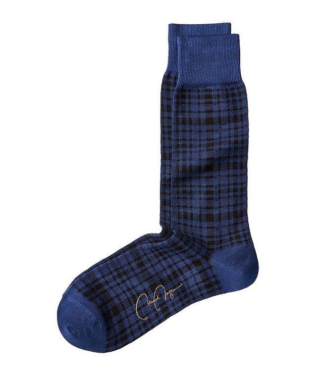 Checked Stretch Cotton-Blend Socks picture 1