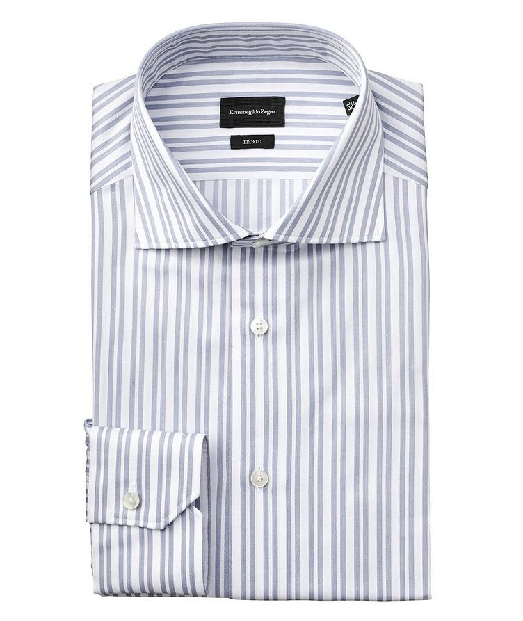 Slim Fit Striped Trofeo Cotton Dress Shirt image 0
