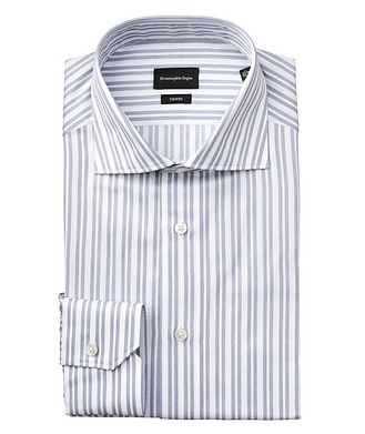 Ermenegildo Zegna Slim Fit Striped Trofeo Cotton Dress Shirt