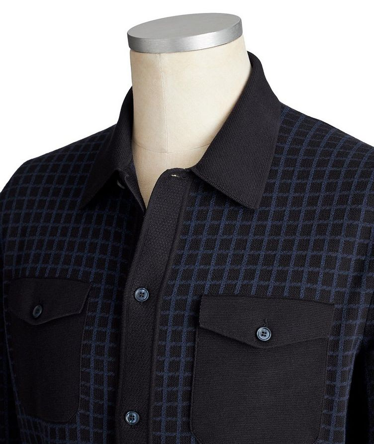 Grid-Printed Cotton-Silk Cardigan image 2
