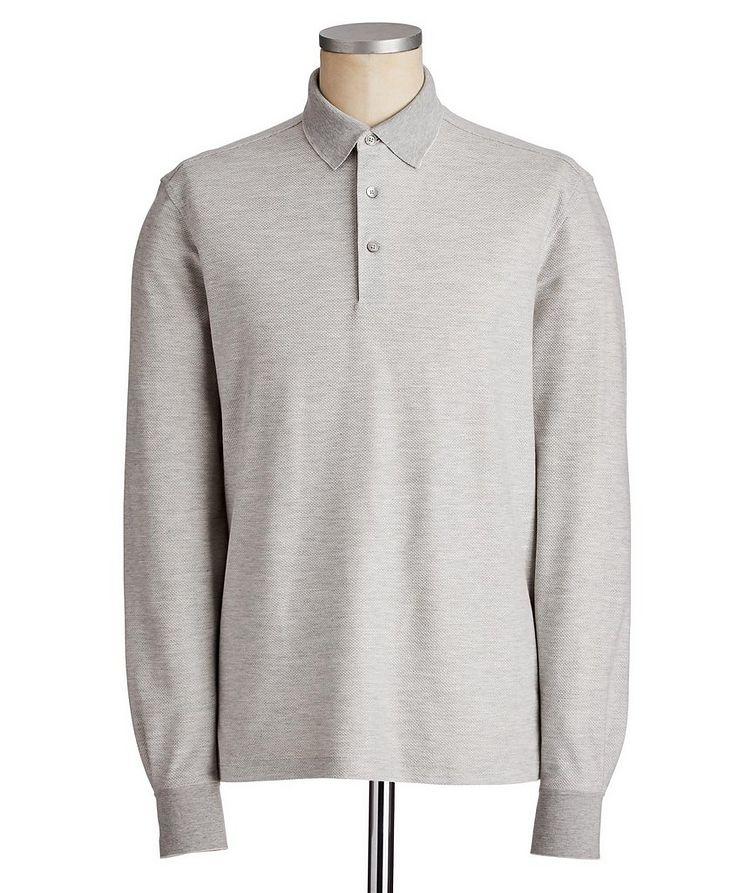 Long-Sleeve Cotton-Silk Polo image 0