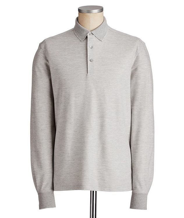 Long-Sleeve Cotton-Silk Polo picture 1