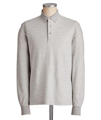 Ermenegildo Zegna Long-Sleeve Cotton-Silk Polo