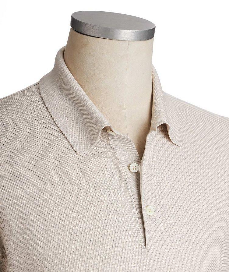 Long-Sleeve Textured Silk Polo image 1