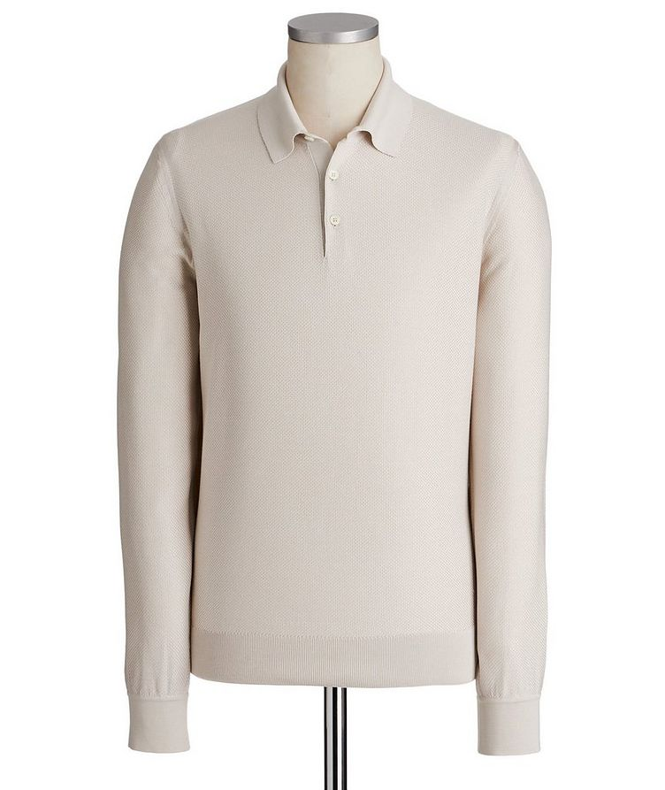 Long-Sleeve Textured Silk Polo image 0