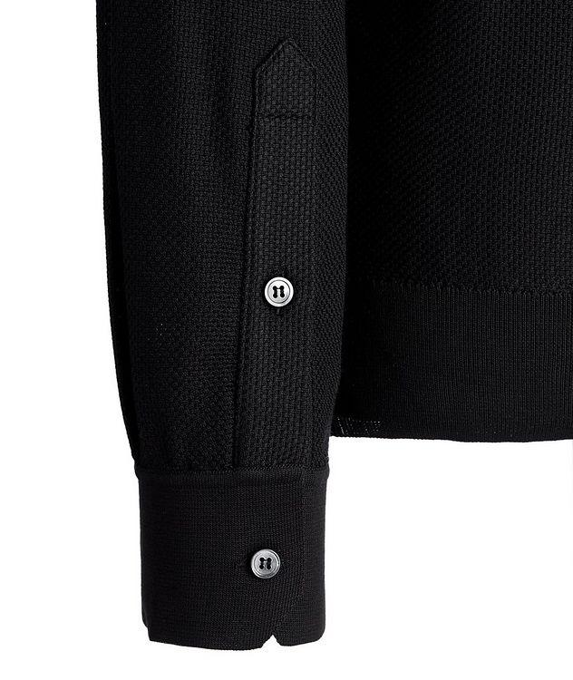 Polo texturé en soie à manches longues picture 3