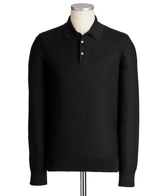Ermenegildo Zegna Long-Sleeve Textured Silk Polo