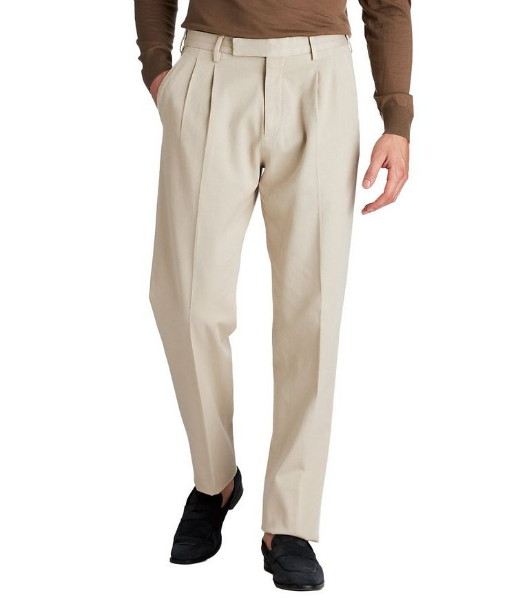 Pleated Stretch-Cotton Pants image 0