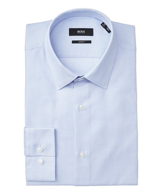 Slim Fit Check-Printed Cotton Dress Shirt picture 1