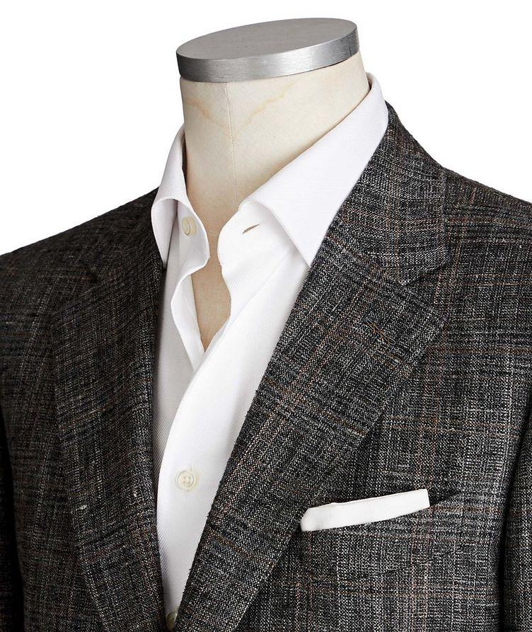 Couture Windowpane Check Silk, Linen & Wool Sports Jacket image 1