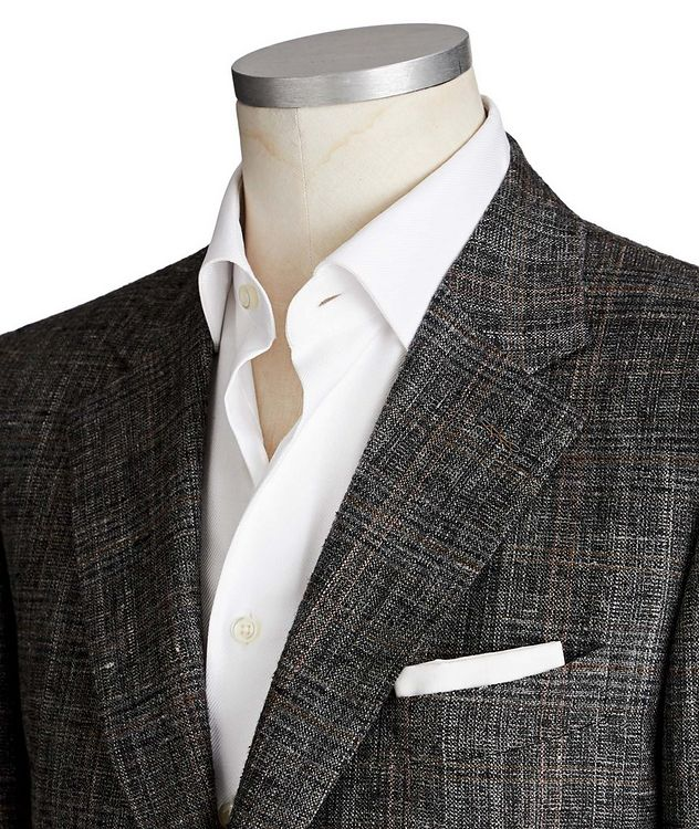 Couture Windowpane Check Silk, Linen & Wool Sports Jacket picture 2