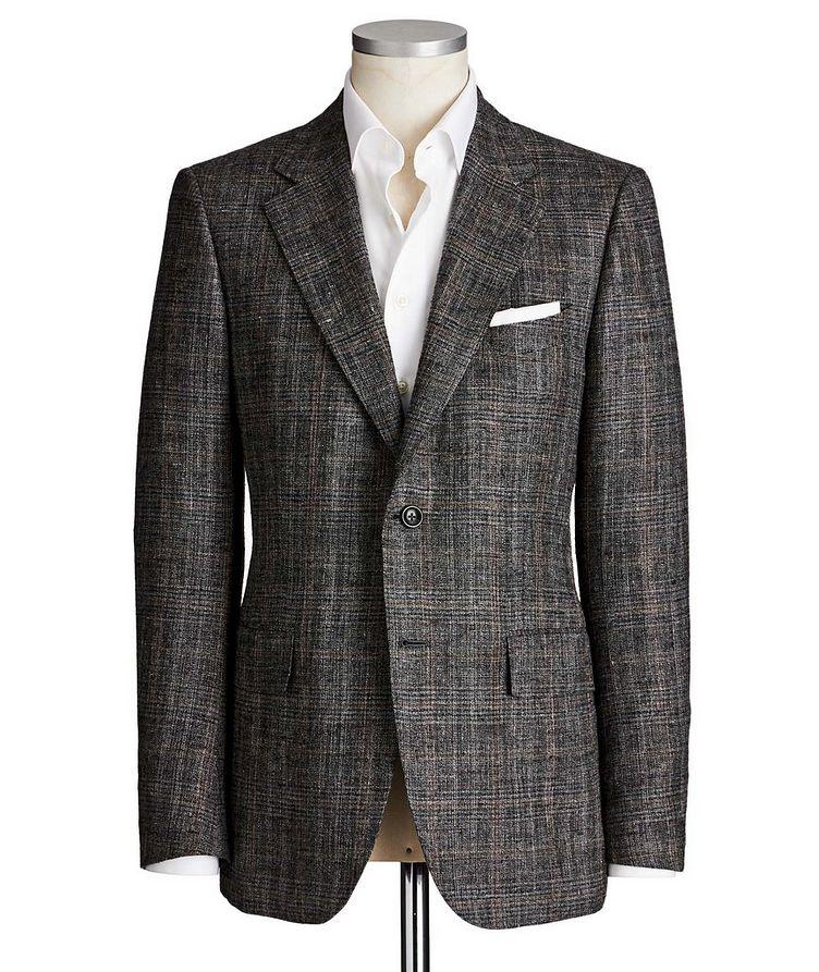 Couture Windowpane Check Silk, Linen & Wool Sports Jacket image 0