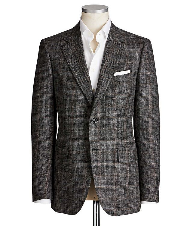Couture Windowpane Check Silk, Linen & Wool Sports Jacket picture 1