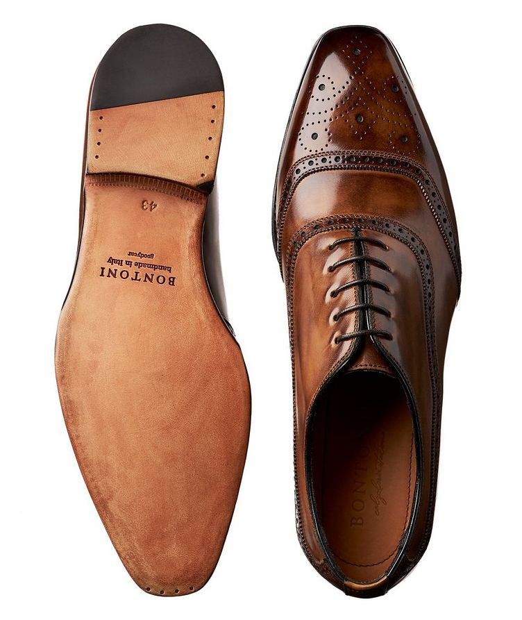 Embossed Cap-Toe Leather Oxfords image 2