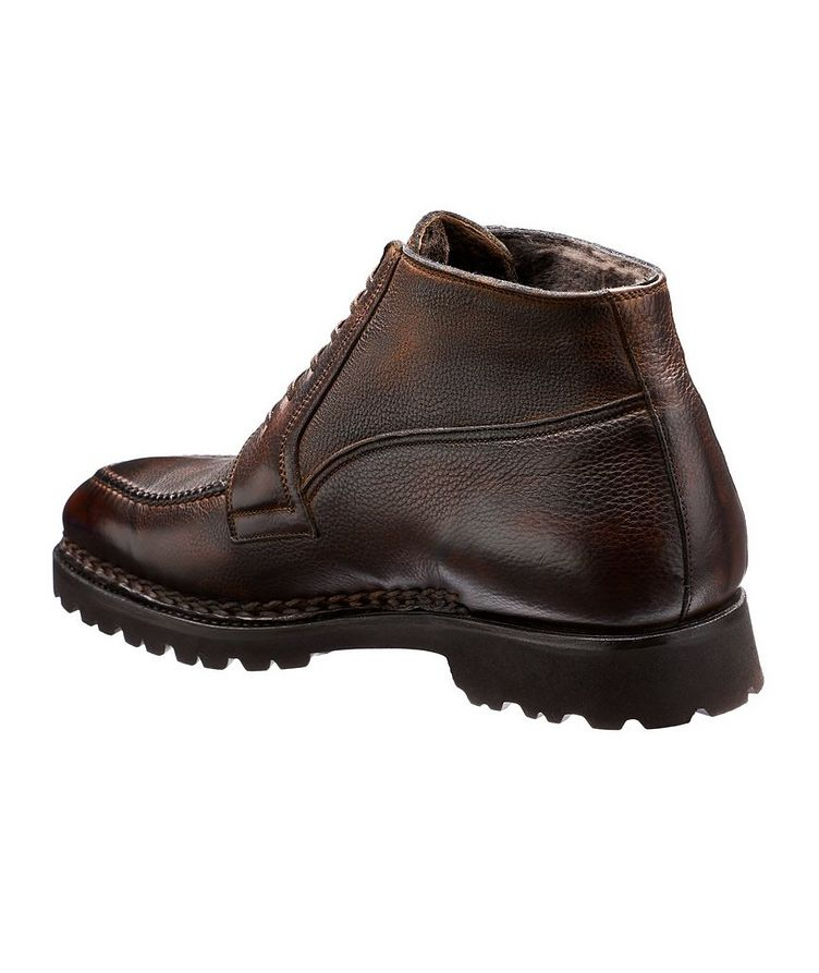 Burnished Fur-Lined Leather Boots image 1