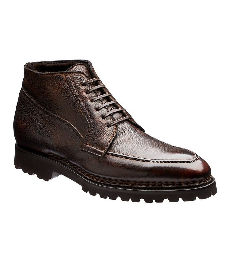 Burnished Fur-Lined Leather Boots image 0