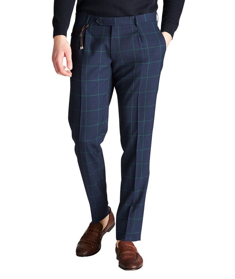 Slim Fit Windowpane Dress Pants image 0