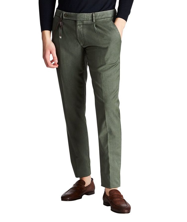 Slim Fit Plain Garment-Washed Dress Pants image 0