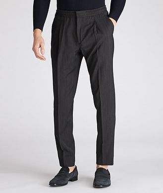 Z Zegna Striped Drawstring Wool Pants