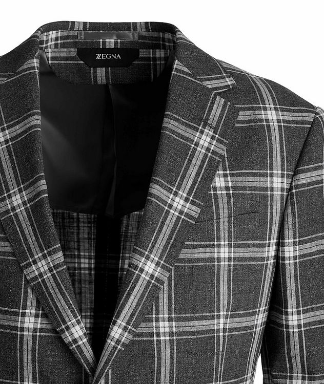 Wool, Cotton, And Linen Checked Sports Jacket picture 3