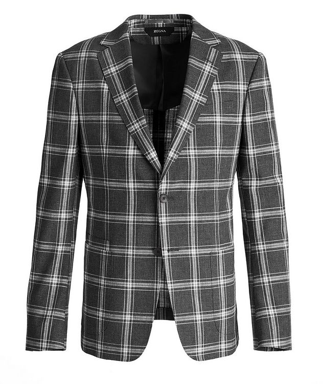 Wool, Cotton, And Linen Checked Sports Jacket picture 1