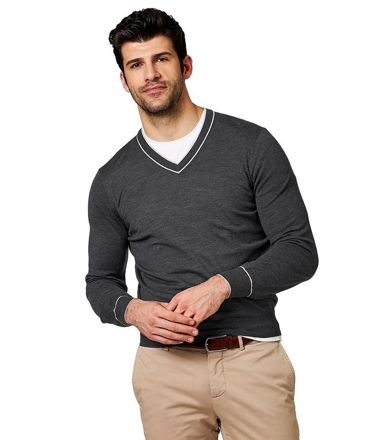 V-Neck Wool & Cashmere Sweater image 0