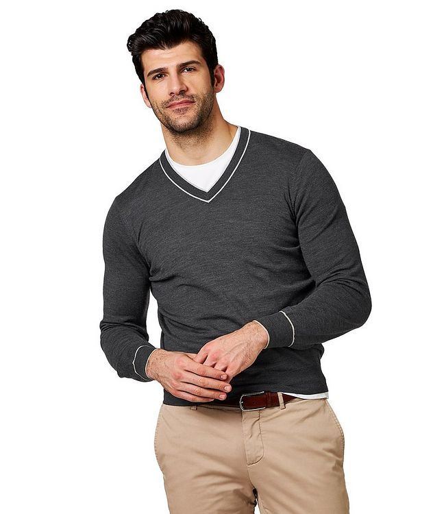 V-Neck Wool & Cashmere Sweater picture 1