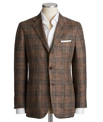 Kiton Contemporary Fit Cashmere, Wool, Silk & Flax Sports Jacket