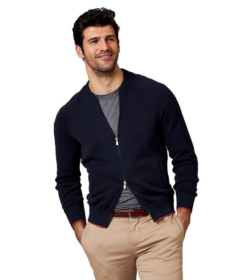 Zip-Up Cotton Cardigan image 0