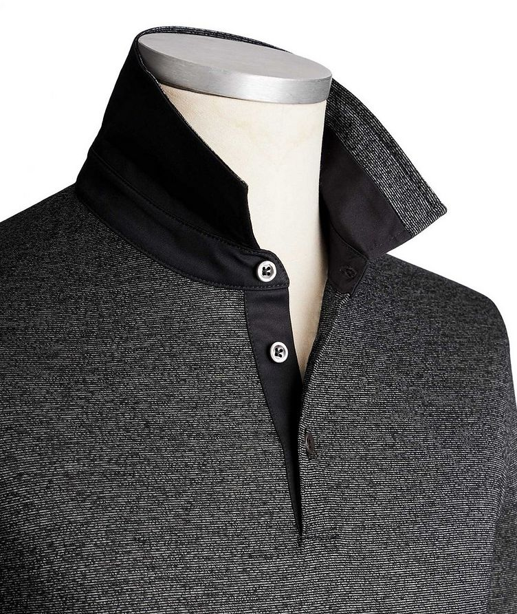 Long-Sleeve Mercerized Cotton Polo image 1