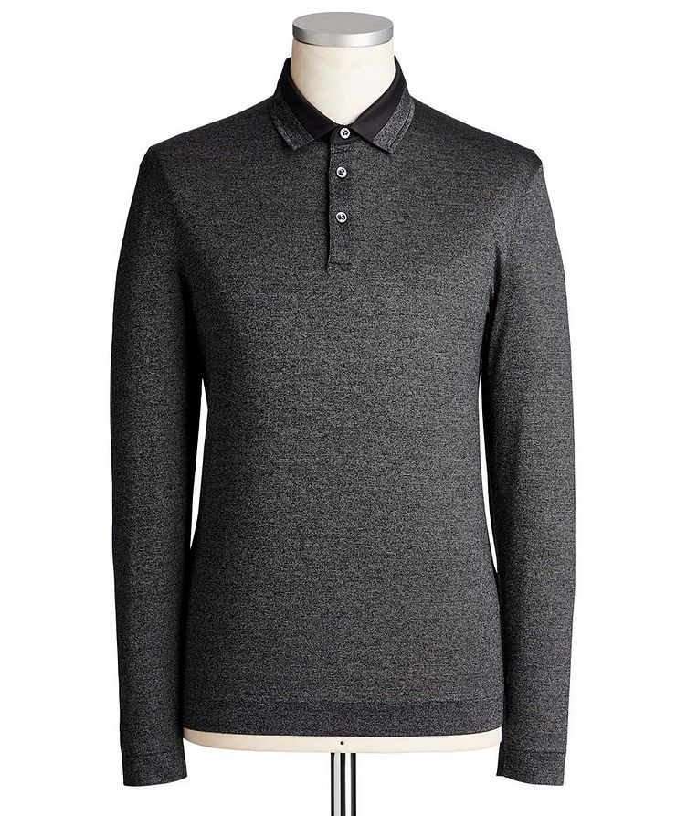 Long-Sleeve Mercerized Cotton Polo image 0