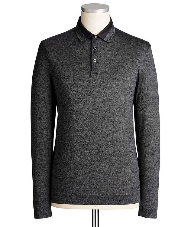 Long-Sleeve Mercerized Cotton Polo picture 1