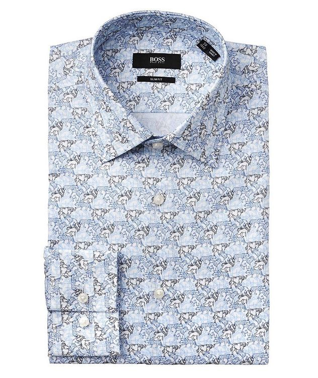 Slim Fit Printed Dress Shirt picture 1
