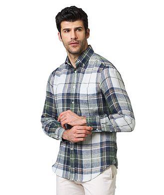 Brunello Cucinelli Plaid-Checked Linen Shirt