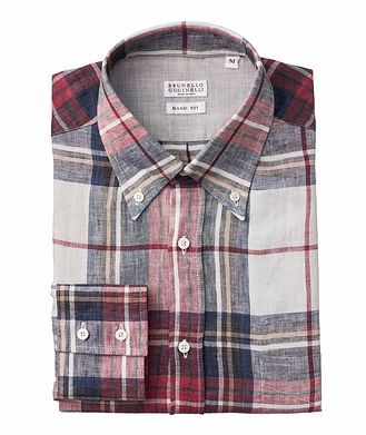 Brunello Cucinelli Plaid Linen Shirt