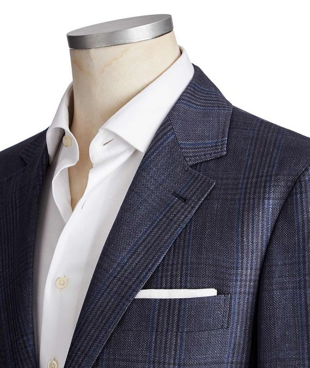 Checked Linen, Wool & Silk Sports Jacket picture 2