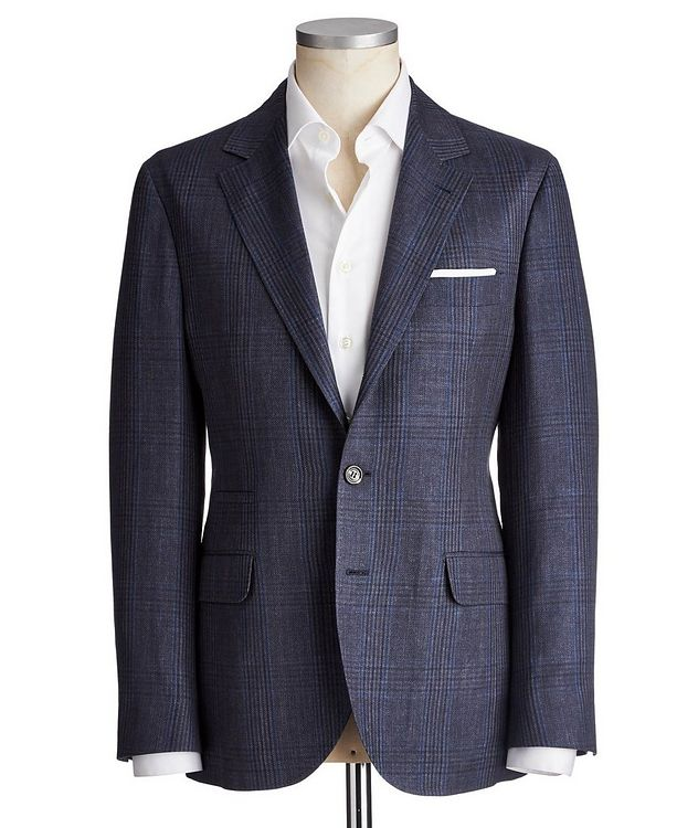 Checked Linen, Wool & Silk Sports Jacket picture 1