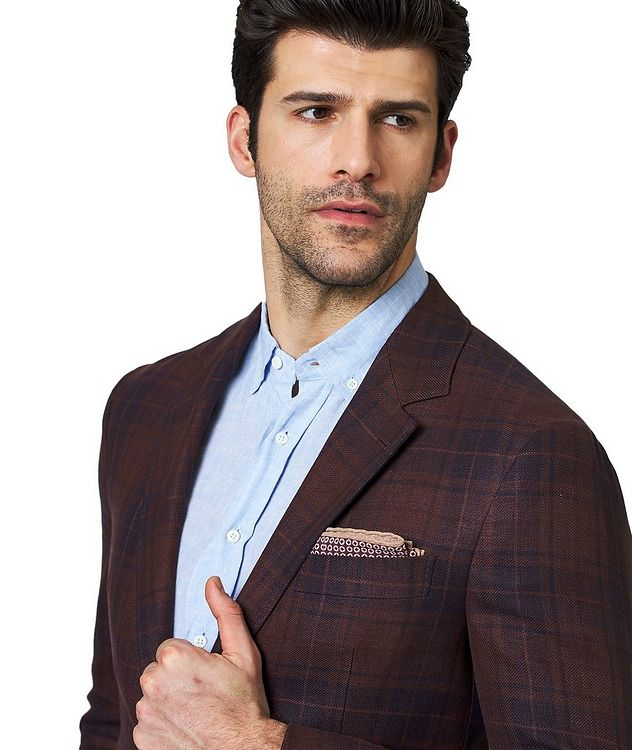 Plaid Linen, Wool & Silk Sports Jacket picture 2